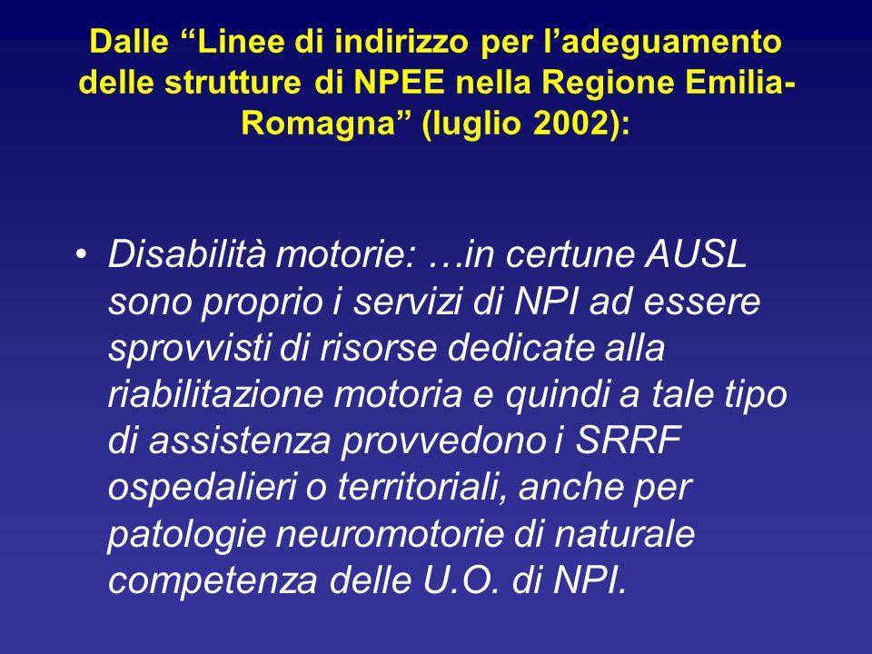 Dalle Linee di indirizzo per l'adeguamento delle strutture di NPEE nella Regione Emilia- Romagna (luglio 2002): Disabilità motorie: …in certune AUSL sono proprio i servizi di NPI ad essere sprovvisti di risorse dedicate alla riabilitazione motoria e quindi a tale tipo di assistenza provvedono i SRRF ospedalieri o territoriali, anche per patologie neuromotorie di naturale competenza delle U.O.