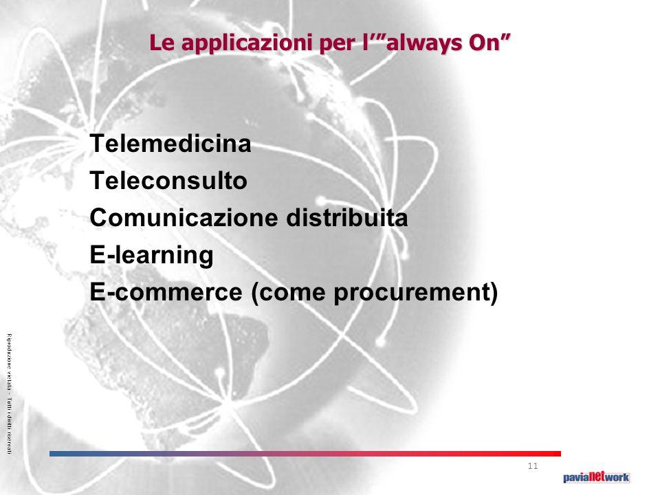 Riproduzione vietata – Tutti i diritti riservati 11 Le applicazioni per l' always On Telemedicina Teleconsulto Comunicazione distribuita E-learning E-commerce (come procurement)