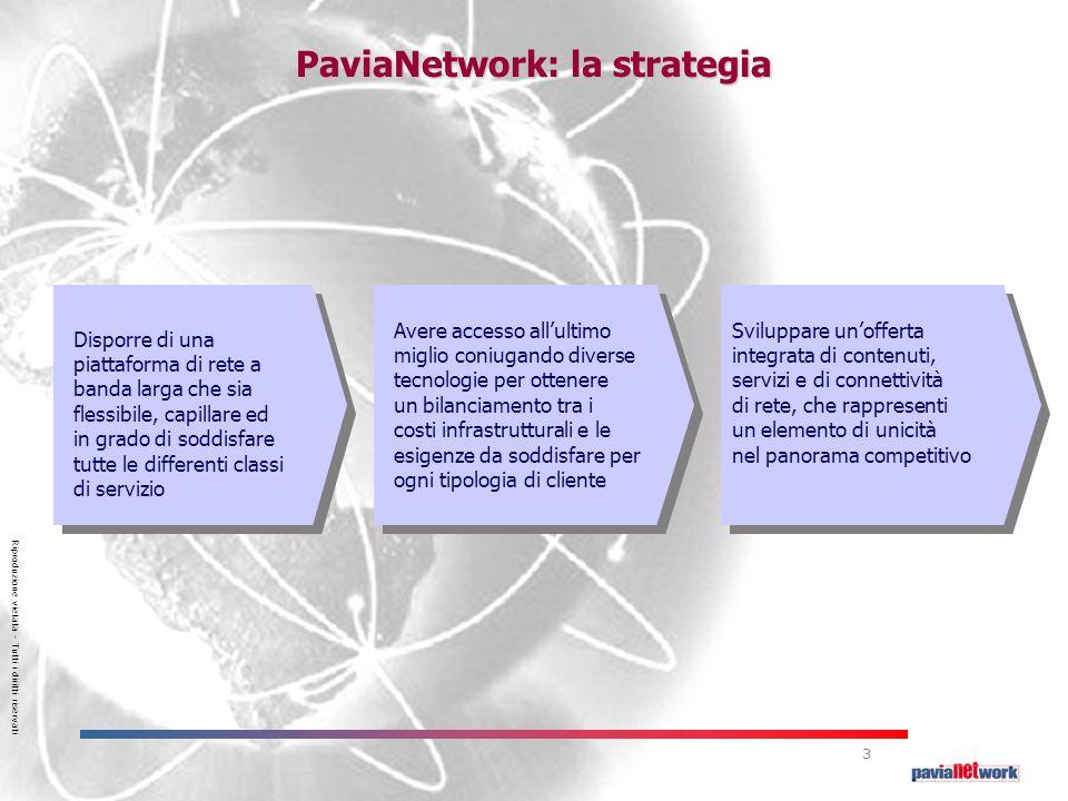 Riproduzione vietata – Tutti i diritti riservati 3 PaviaNetwork: la strategia Disporre di una piattaforma di rete a banda larga che sia flessibile, capillare ed in grado di soddisfare tutte le differenti classi di servizio Avere accesso all'ultimo miglio coniugando diverse tecnologie per ottenere un bilanciamento tra i costi infrastrutturali e le esigenze da soddisfare per ogni tipologia di cliente Sviluppare un'offerta integrata di contenuti, servizi e di connettività di rete, che rappresenti un elemento di unicità nel panorama competitivo