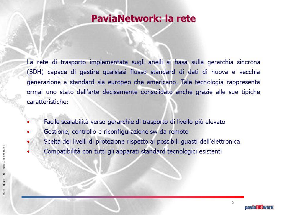 Riproduzione vietata – Tutti i diritti riservati 6 La rete di trasporto implementata sugli anelli si basa sulla gerarchia sincrona (SDH) capace di gestire qualsiasi flusso standard di dati di nuova e vecchia generazione a standard sia europeo che americano.