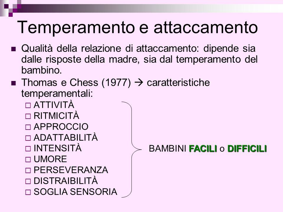 Temperamento e attaccamento Qualità della relazione di attaccamento: dipende sia dalle risposte della madre, sia dal temperamento del bambino. Thomas