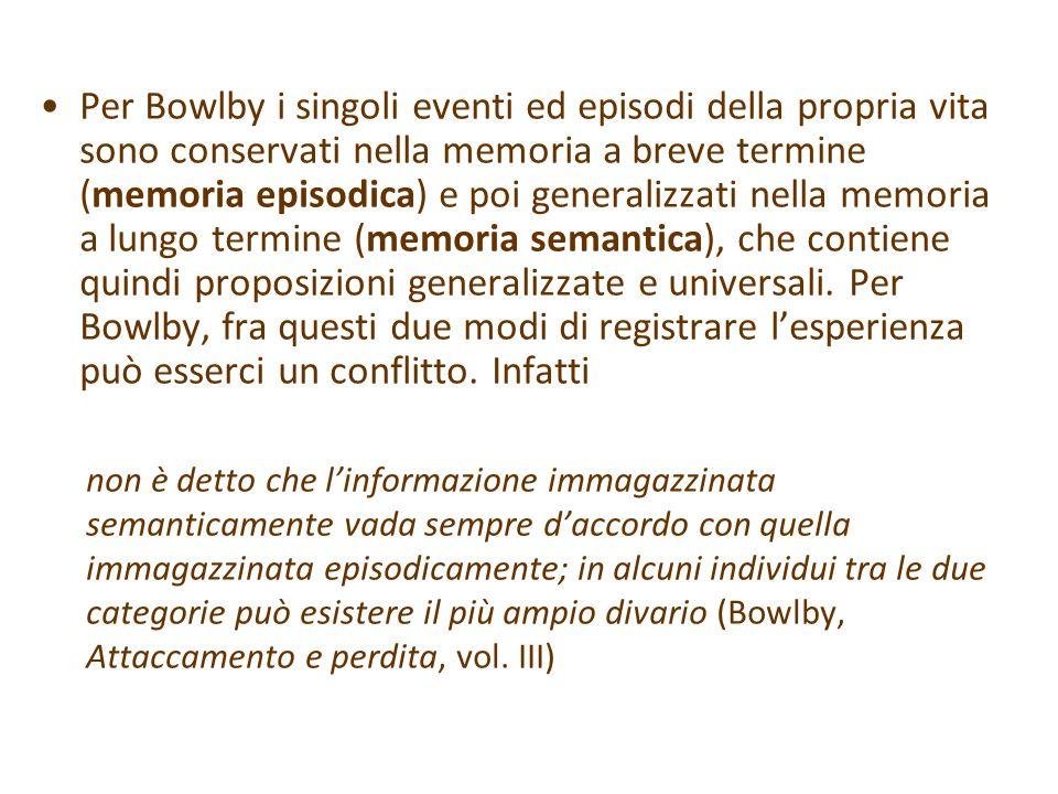 Per Bowlby i singoli eventi ed episodi della propria vita sono conservati nella memoria a breve termine (memoria episodica) e poi generalizzati nella memoria a lungo termine (memoria semantica), che contiene quindi proposizioni generalizzate e universali.