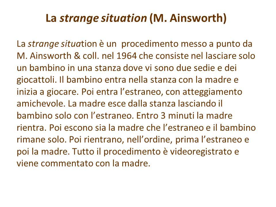 La strange situation (M. Ainsworth) La strange situation è un procedimento messo a punto da M. Ainsworth & coll. nel 1964 che consiste nel lasciare so