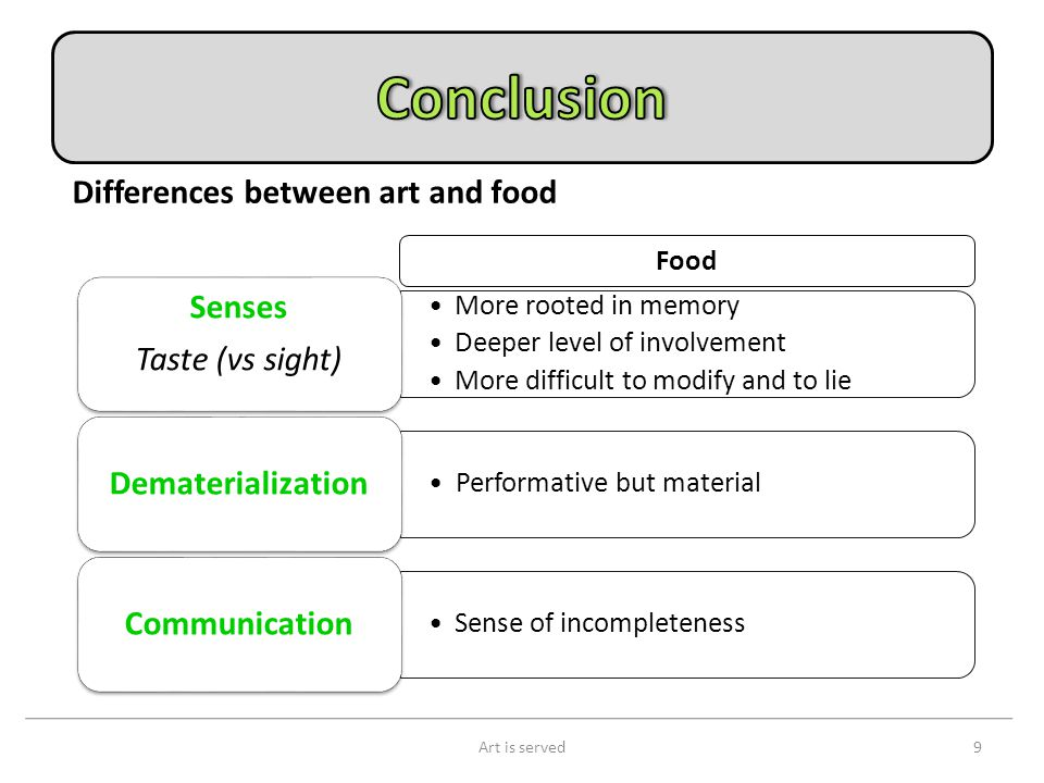 Art is served9 Differences between art and food More rooted in memory Deeper level of involvement More difficult to modify and to lie Senses Taste (vs sight) Performative but material Dematerialization Sense of incompleteness Communication Food