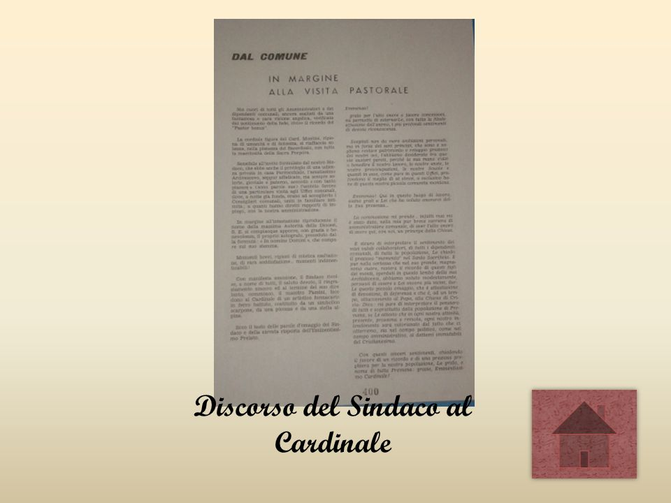 Discorso del Sindaco al Cardinale