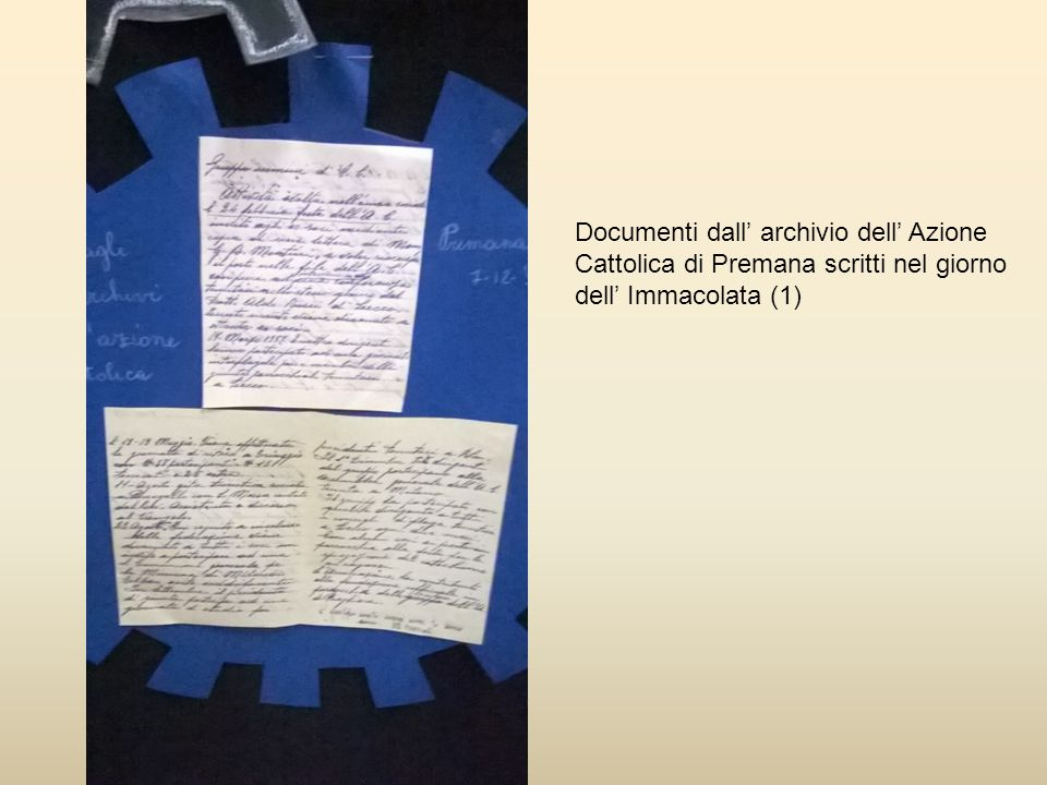 Documenti dall' archivio dell' Azione Cattolica di Premana scritti nel giorno dell' Immacolata (1)