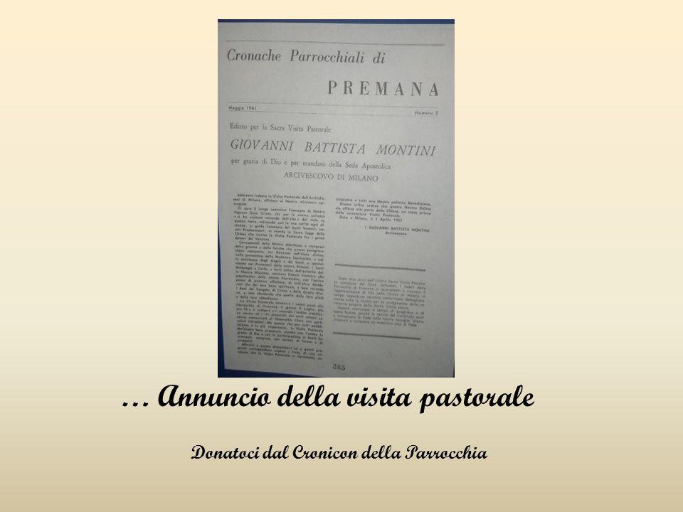 … Annuncio della visita pastorale Donatoci dal Cronicon della Parrocchia