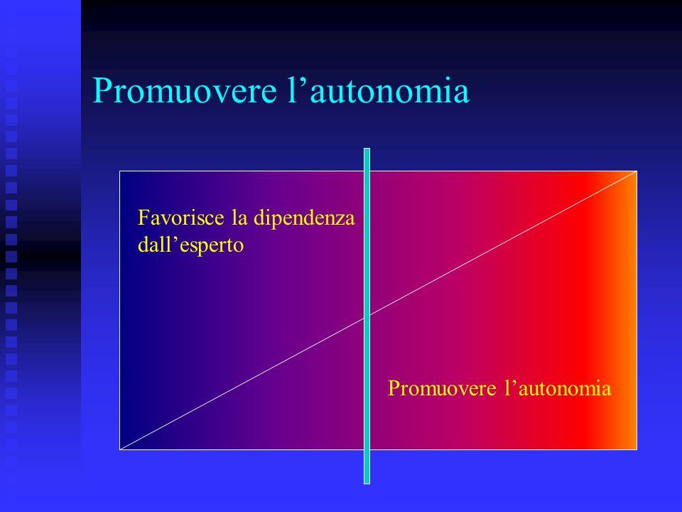Promuovere l'autonomia Favorisce la dipendenza dall'esperto Promuovere l'autonomia