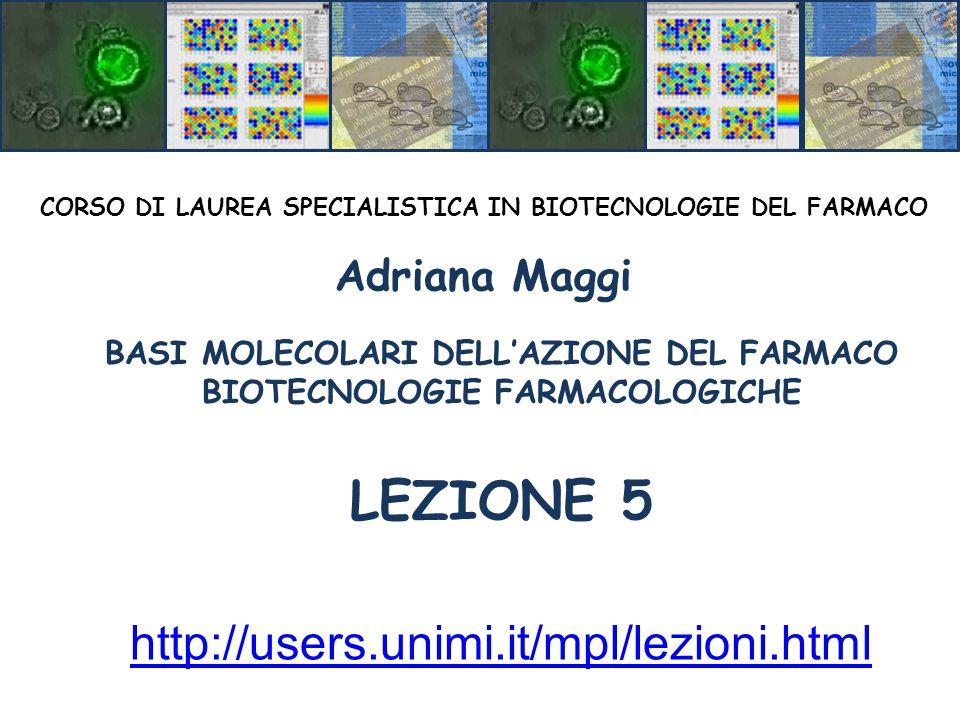 BASI MOLECOLARI DELL'AZIONE DEL FARMACO BIOTECNOLOGIE FARMACOLOGICHE LEZIONE 5 CORSO DI LAUREA SPECIALISTICA IN BIOTECNOLOGIE DEL FARMACO Adriana Maggi http://users.unimi.it/mpl/lezioni.html