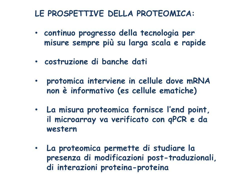 LE PROSPETTIVE DELLA PROTEOMICA: continuo progresso della tecnologia per misure sempre più su larga scala e rapide costruzione di banche dati protomica interviene in cellule dove mRNA non è informativo (es cellule ematiche) La misura proteomica fornisce l'end point, il microarray va verificato con qPCR e da western La proteomica permette di studiare la presenza di modificazioni post-traduzionali, di interazioni proteina-proteina