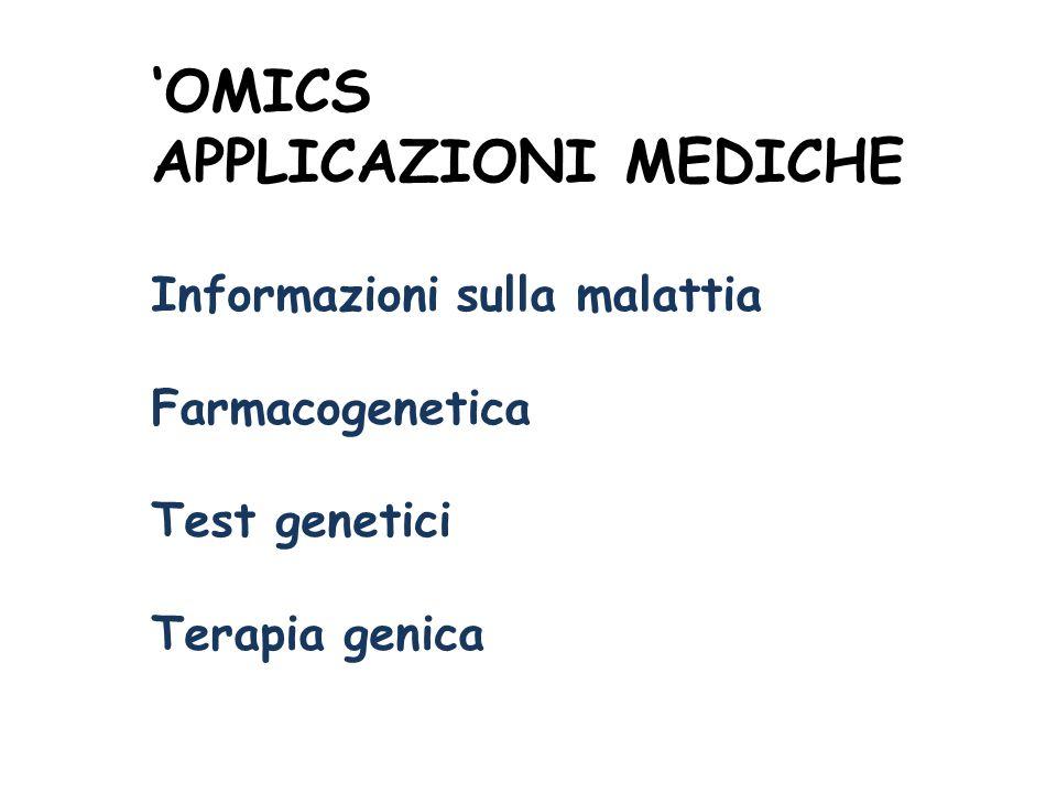 'OMICS APPLICAZIONI MEDICHE Informazioni sulla malattia Farmacogenetica Test genetici Terapia genica
