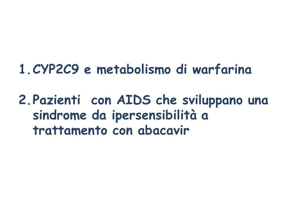 1.CYP2C9 e metabolismo di warfarina 2.Pazienti con AIDS che sviluppano una sindrome da ipersensibilità a trattamento con abacavir