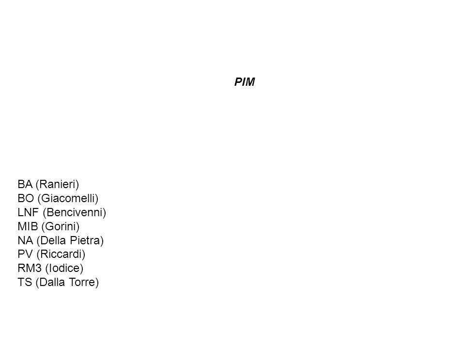 PIM BA (Ranieri) BO (Giacomelli) LNF (Bencivenni) MIB (Gorini) NA (Della Pietra) PV (Riccardi) RM3 (Iodice) TS (Dalla Torre)