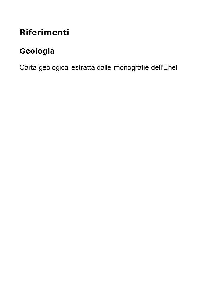Riferimenti Geologia Carta geologica estratta dalle monografie dell'Enel