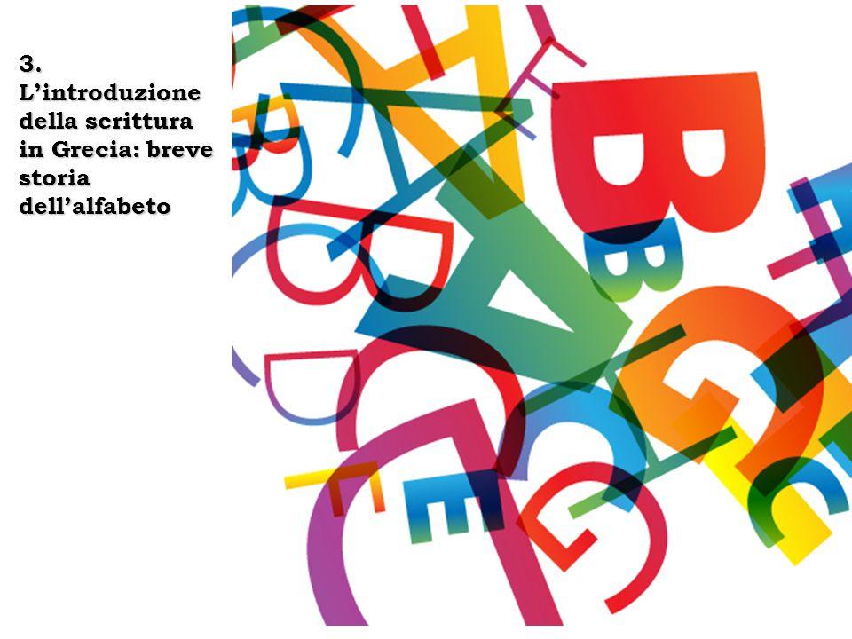 Dall'alfabeto fenicio all'alfabeto greco  L'alfabeto greco deriva da quello fenicio (22 lettere)  Forma delle lettere  Ordine delle lettere  Nomi delle lettere  Testimonianze letterarie ed epigrafiche  Direzione della scrittura (retrograda)  Segni di interpunzione  Per nascita dell'alfabeto greco si intende la trasmissione dell'alfabeto fenicio ai Greci e il conseguente adattamento alla lingua greca.