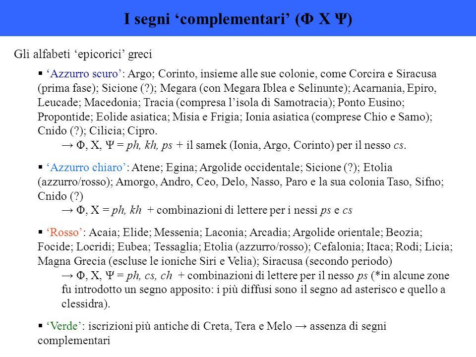 I segni 'complementari' (Φ Χ Ψ) Gli alfabeti 'epicorici' greci  'Azzurro scuro': Argo; Corinto, insieme alle sue colonie, come Corcira e Siracusa (pr