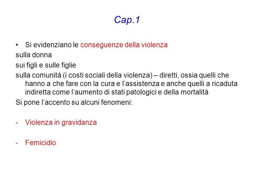 Cap.1 Si evidenziano le conseguenze della violenza sulla donna sui figli e sulle figlie sulla comunità (i costi sociali della violenza) – diretti, oss