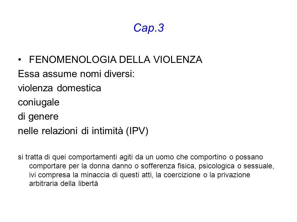 Cap.3 FENOMENOLOGIA DELLA VIOLENZA Essa assume nomi diversi: violenza domestica coniugale di genere nelle relazioni di intimità (IPV) si tratta di que