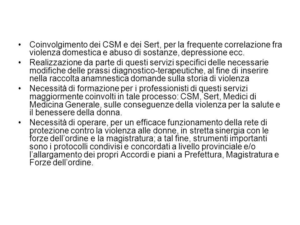 Coinvolgimento dei CSM e dei Sert, per la frequente correlazione fra violenza domestica e abuso di sostanze, depressione ecc. Realizzazione da parte d