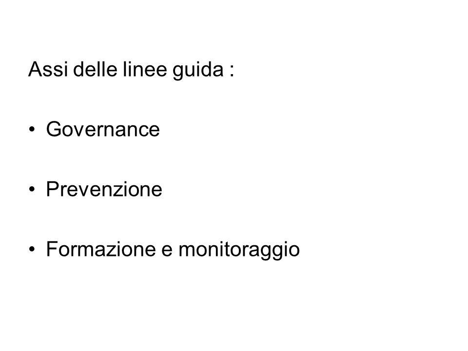 Assi delle linee guida : Governance Prevenzione Formazione e monitoraggio