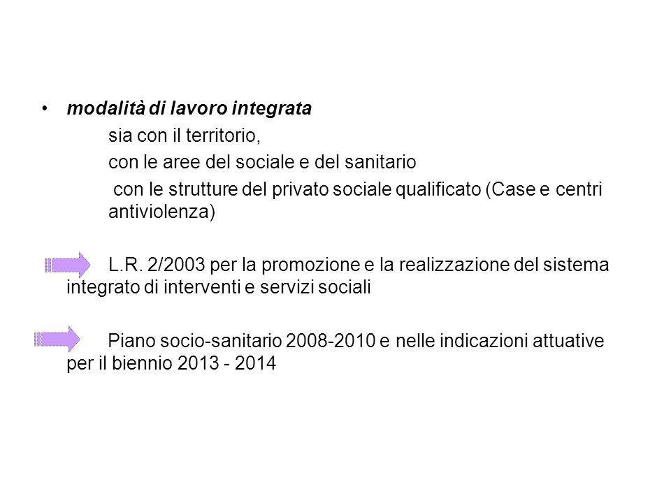 modalità di lavoro integrata sia con il territorio, con le aree del sociale e del sanitario con le strutture del privato sociale qualificato (Case e c