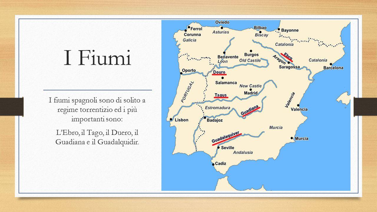 I Fiumi I fiumi spagnoli sono di solito a regime torrentizio ed i più importanti sono: L'Ebro, il Tago, il Duero, il Guadiana e il Guadalquidir.