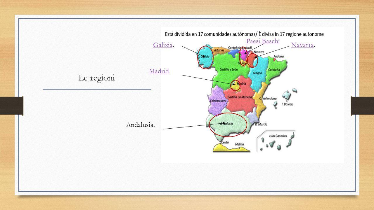 Le regioni GaliziaGalizia. Paesi Baschi Madrid. Andalusia. NavarraNavarra.