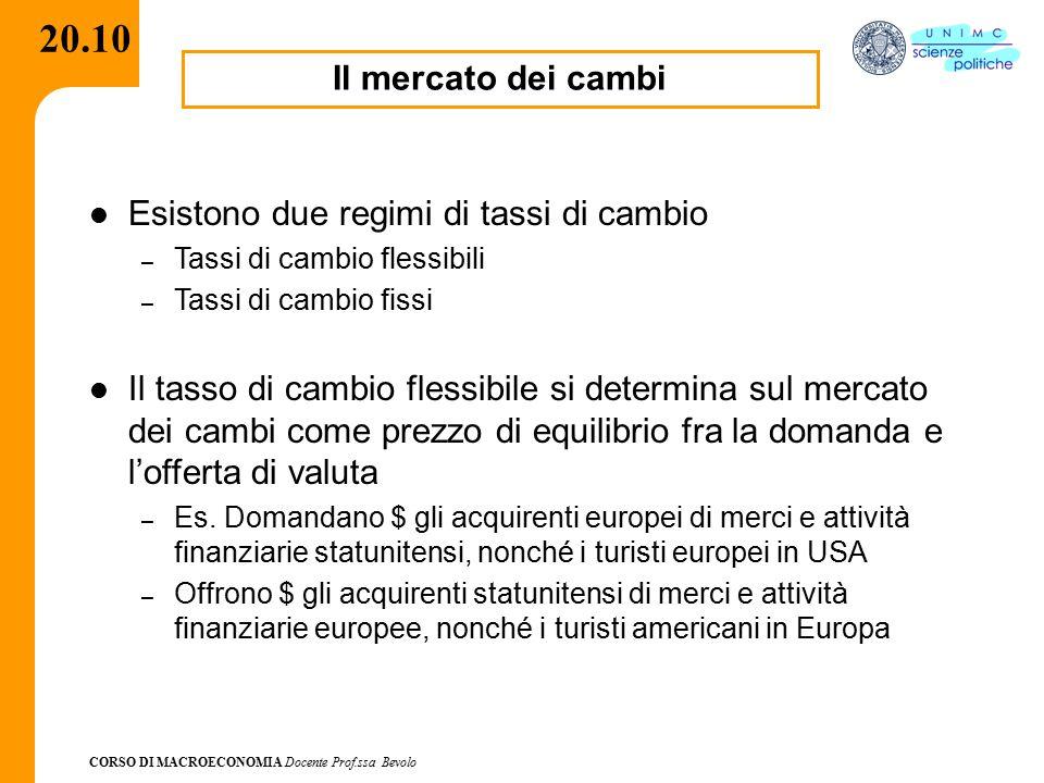 CORSO DI MACROECONOMIA Docente Prof.ssa Bevolo 20.10 Il mercato dei cambi Esistono due regimi di tassi di cambio – Tassi di cambio flessibili – Tassi
