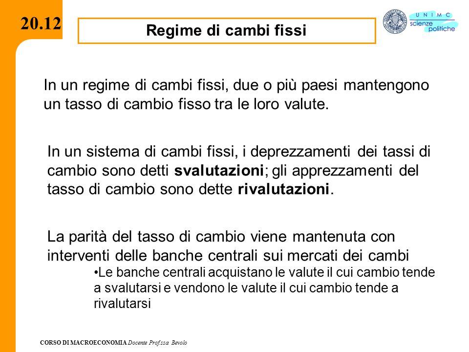 CORSO DI MACROECONOMIA Docente Prof.ssa Bevolo 20.12 Regime di cambi fissi In un regime di cambi fissi, due o più paesi mantengono un tasso di cambio