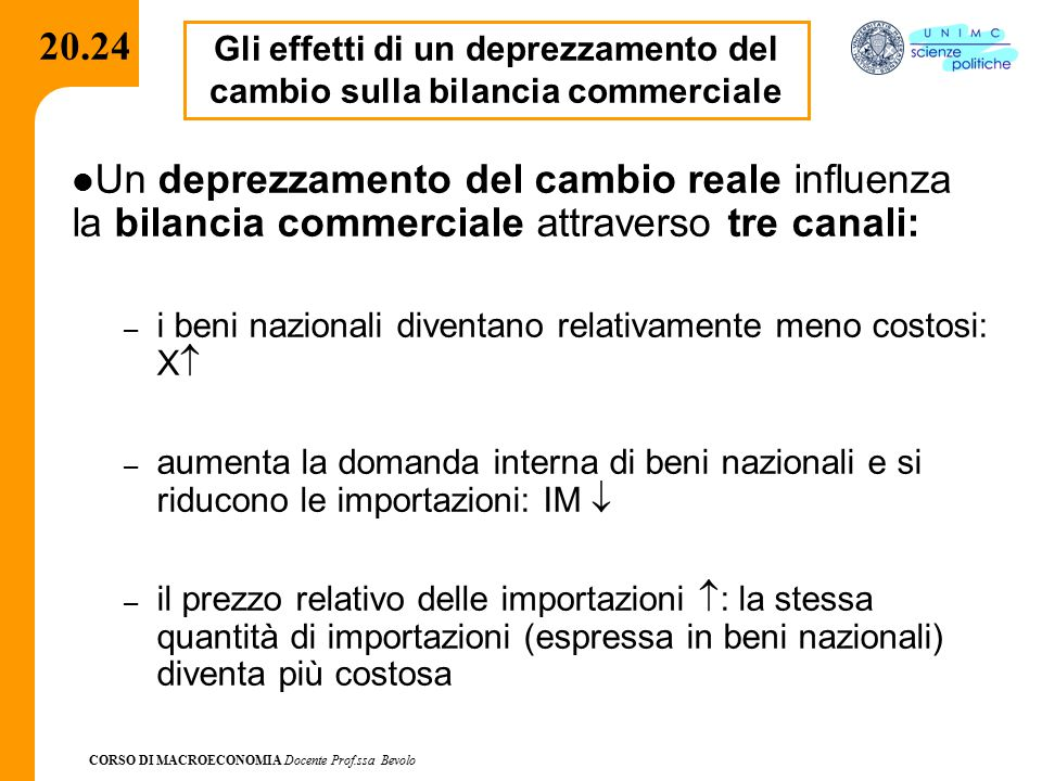CORSO DI MACROECONOMIA Docente Prof.ssa Bevolo 20.24 Gli effetti di un deprezzamento del cambio sulla bilancia commerciale Un deprezzamento del cambio