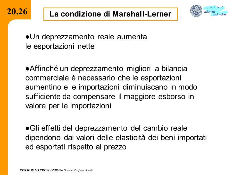 CORSO DI MACROECONOMIA Docente Prof.ssa Bevolo 20.26 La condizione di Marshall-Lerner Un deprezzamento reale aumenta le esportazioni nette Affinché un