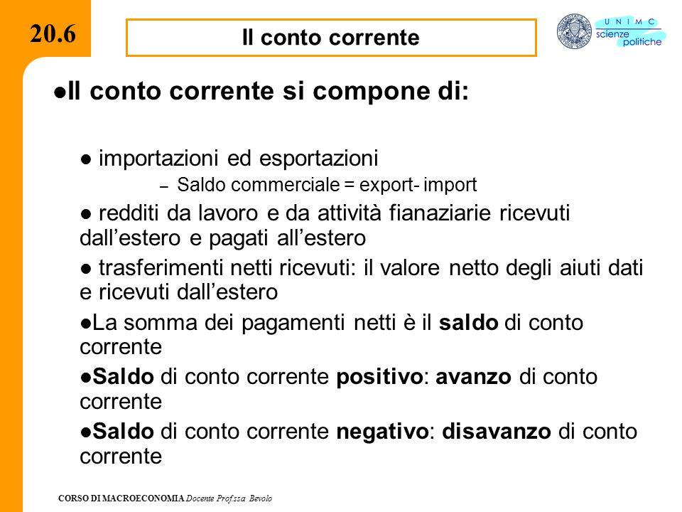 CORSO DI MACROECONOMIA Docente Prof.ssa Bevolo 20.6 Il conto corrente Il conto corrente si compone di: importazioni ed esportazioni – Saldo commercial