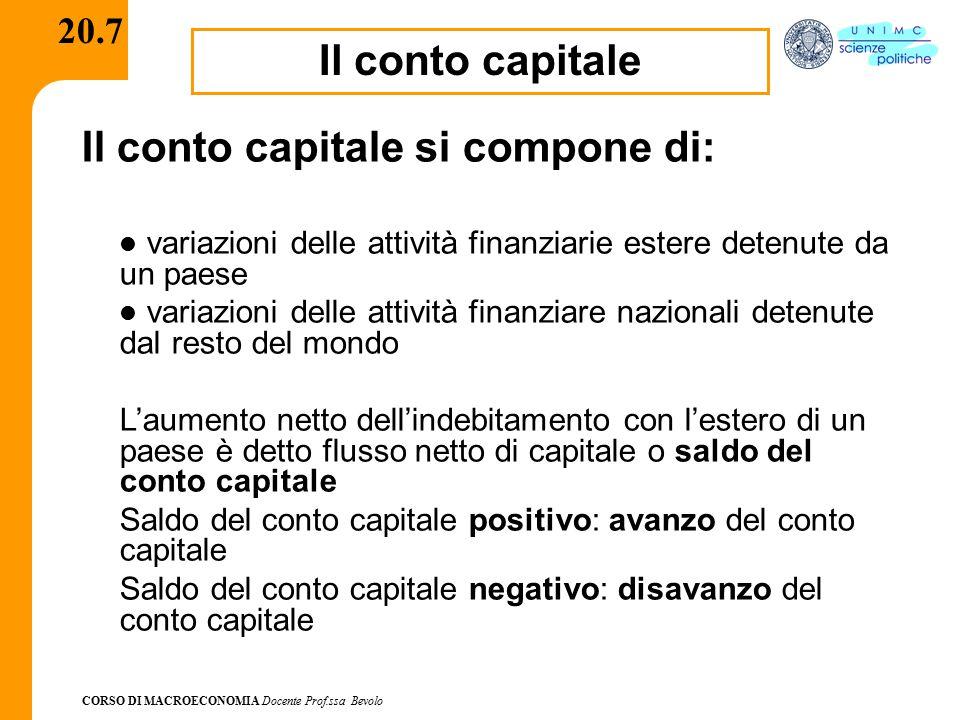 CORSO DI MACROECONOMIA Docente Prof.ssa Bevolo 20.7 Il conto capitale Il conto capitale si compone di: variazioni delle attività finanziarie estere de
