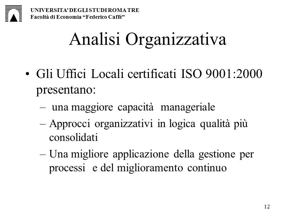 12 Analisi Organizzativa Gli Uffici Locali certificati ISO 9001:2000 presentano: – una maggiore capacità manageriale –Approcci organizzativi in logica