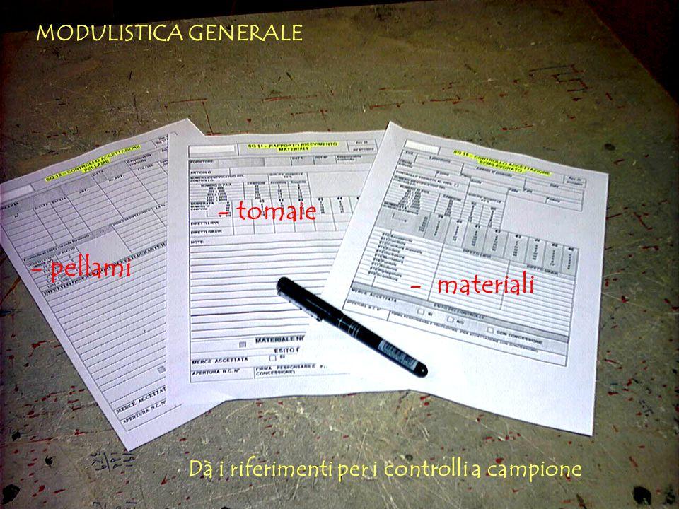 - pellami MODULISTICA GENERALE Dà i riferimenti per i controlli a campione - tomaie - materiali