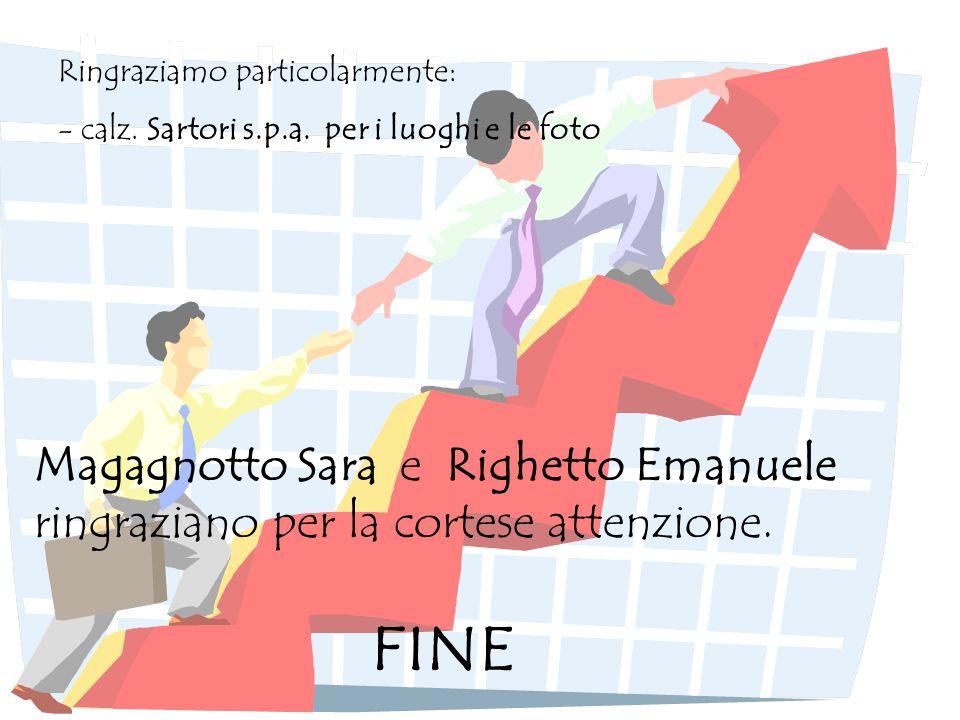 Magagnotto Sara e Righetto Emanuele ringraziano per la cortese attenzione. FINE Ringraziamo particolarmente: - calz. Sartori s.p.a. per i luoghi e le
