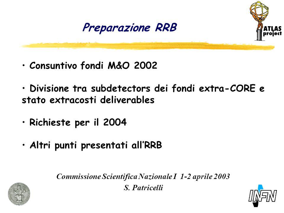 Preparazione RRB Commissione Scientifica Nazionale I 1-2 aprile 2003 S.