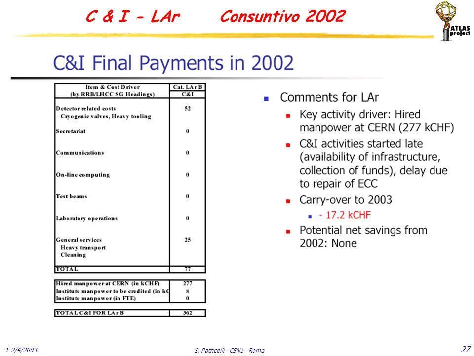 1-2/4/2003 S. Patricelli - CSN1 - Roma 27 C & I - LAr Consuntivo 2002