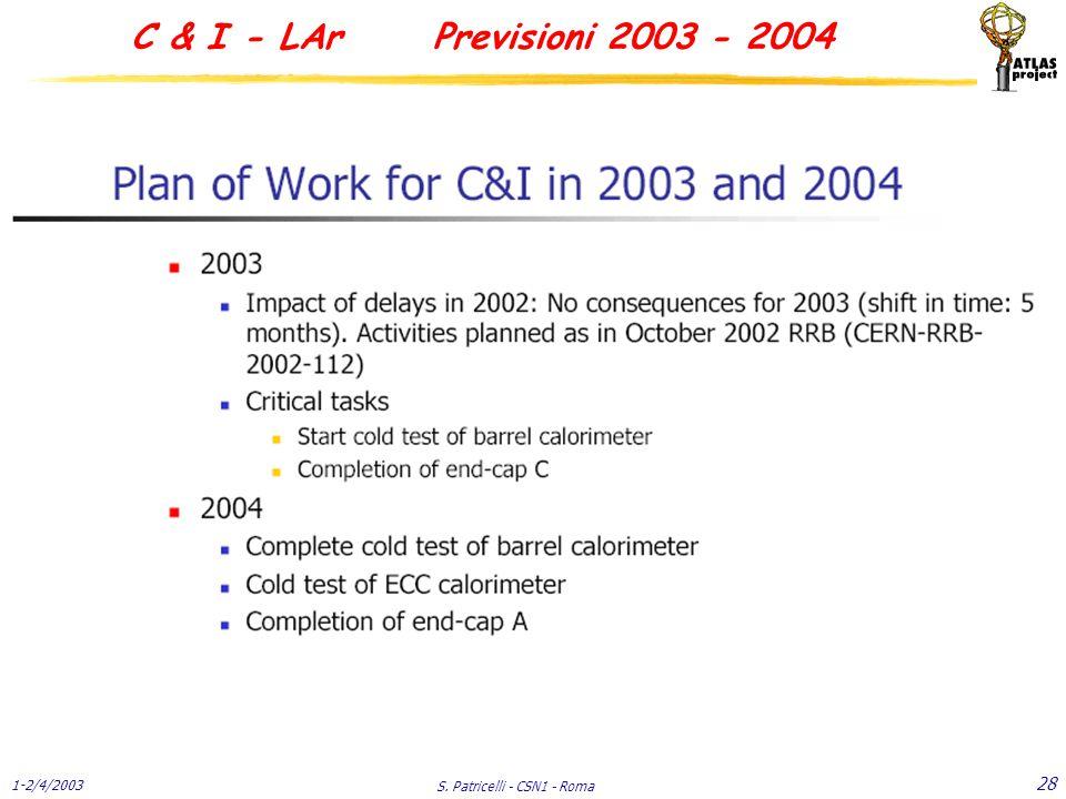 1-2/4/2003 S. Patricelli - CSN1 - Roma 28 C & I - LAr Previsioni 2003 - 2004