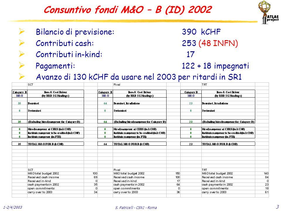 1-2/4/2003 S. Patricelli - CSN1 - Roma 34 C & I - Muoni Previsioni 2003 - 2004