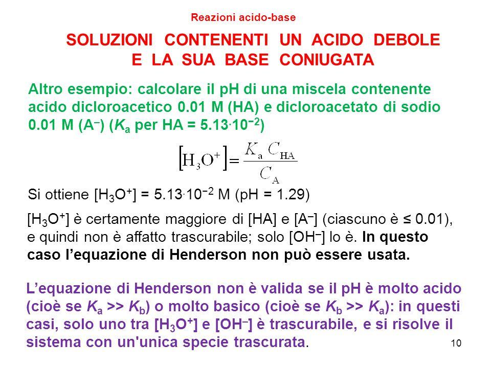10 SOLUZIONI CONTENENTI UN ACIDO DEBOLE E LA SUA BASE CONIUGATA Si ottiene [H 3 O + ] = 5.13. 10 −2 M (pH = 1.29) Reazioni acido-base Altro esempio: c