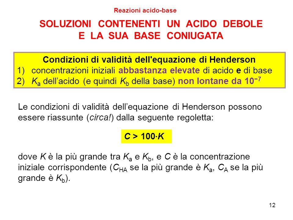 12 SOLUZIONI CONTENENTI UN ACIDO DEBOLE E LA SUA BASE CONIUGATA Reazioni acido-base Le condizioni di validità dell'equazione di Henderson possono esse