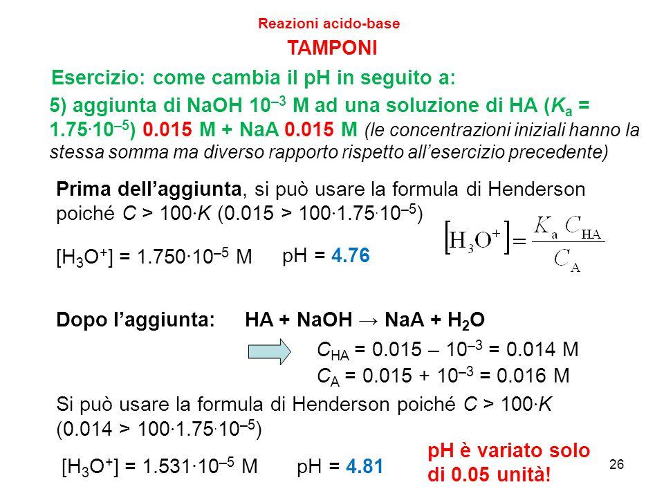 26 TAMPONI 5) aggiunta di NaOH 10 –3 M ad una soluzione di HA (K a = 1.75. 10 –5 ) 0.015 M + NaA 0.015 M (le concentrazioni iniziali hanno la stessa s