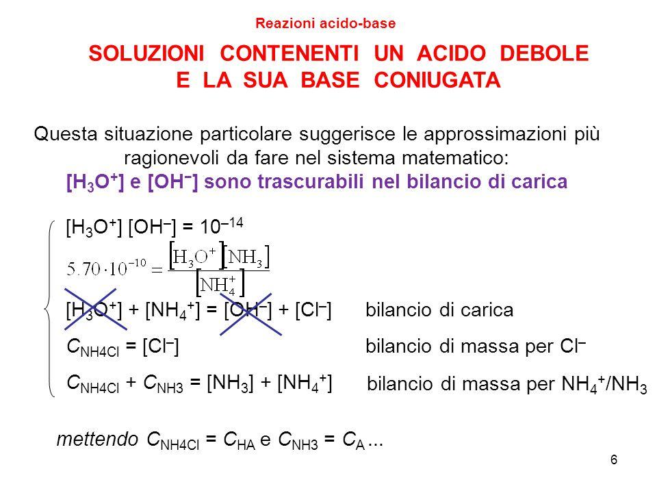 6 SOLUZIONI CONTENENTI UN ACIDO DEBOLE E LA SUA BASE CONIUGATA [H 3 O + ] [OH – ] = 10 –14 [H 3 O + ] + [NH 4 + ] = [OH – ] + [Cl – ]bilancio di caric