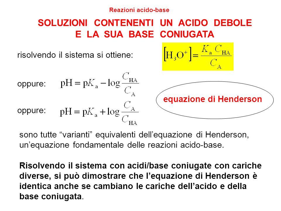 """7 SOLUZIONI CONTENENTI UN ACIDO DEBOLE E LA SUA BASE CONIUGATA Reazioni acido-base oppure: equazione di Henderson sono tutte """"varianti"""" equivalenti de"""