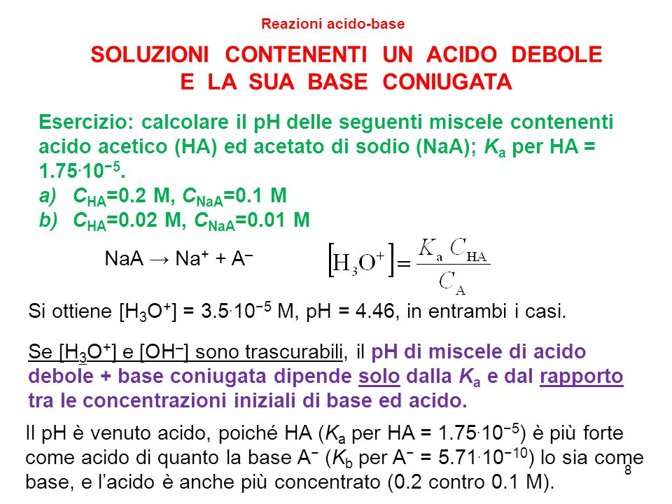8 SOLUZIONI CONTENENTI UN ACIDO DEBOLE E LA SUA BASE CONIUGATA Esercizio: calcolare il pH delle seguenti miscele contenenti acido acetico (HA) ed acet