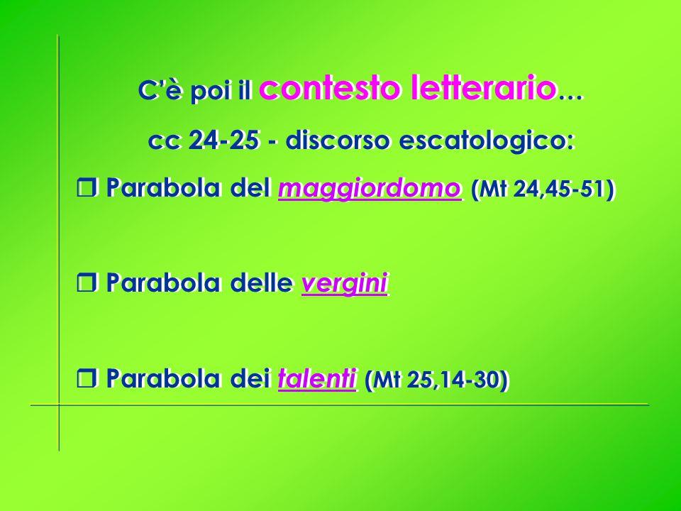 C'è poi il contesto letterario … cc 24-25 - discorso escatologico:  Parabola del maggiordomo (Mt 24,45-51)  Parabola delle vergini  Parabola dei talenti (Mt 25,14-30) C'è poi il contesto letterario … cc 24-25 - discorso escatologico:  Parabola del maggiordomo (Mt 24,45-51)  Parabola delle vergini  Parabola dei talenti (Mt 25,14-30)