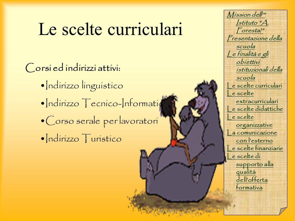 """Mission dell'"""" Istituto """"A. Foresta!"""" Presentazione della scuola Le finalità e gli obiettivi istituzionali della scuola Le scelte curriculari Le scelt"""