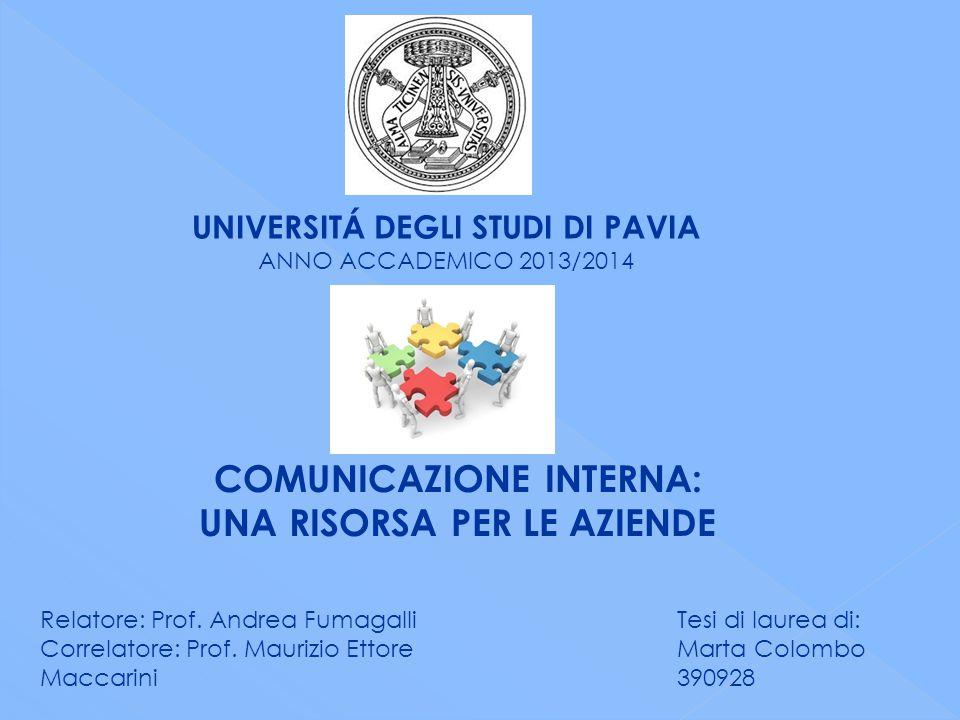 UNIVERSITÁ DEGLI STUDI DI PAVIA ANNO ACCADEMICO 2013/2014 COMUNICAZIONE INTERNA: UNA RISORSA PER LE AZIENDE Relatore: Prof.