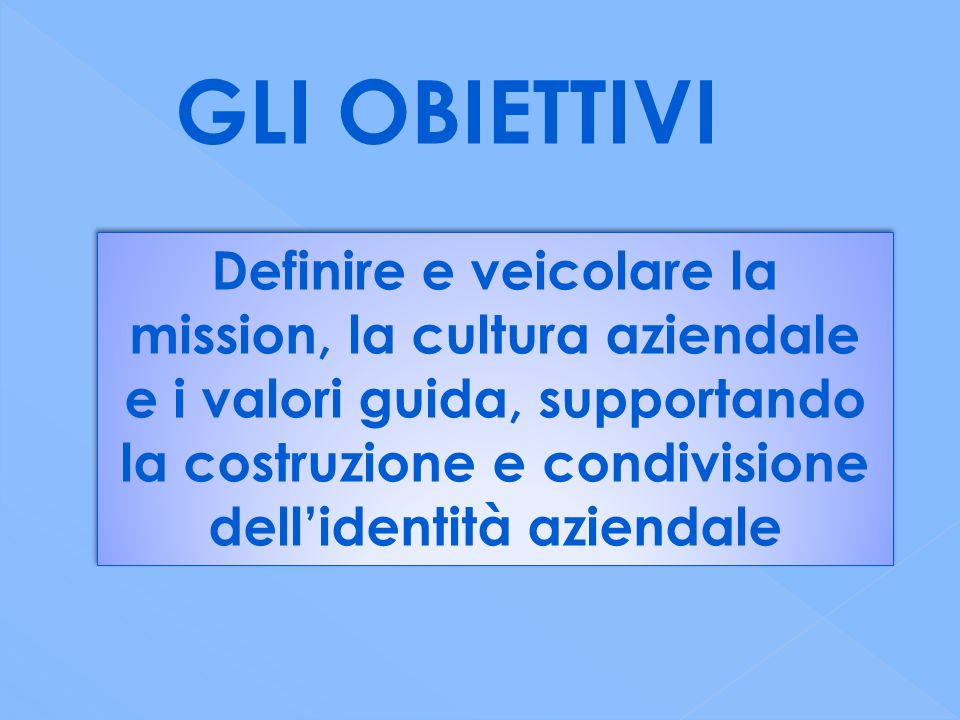 GLI OBIETTIVI Definire e veicolare la mission, la cultura aziendale e i valori guida, supportando la costruzione e condivisione dell'identità aziendale